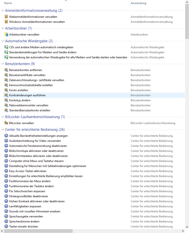 Windows Master Control Panel