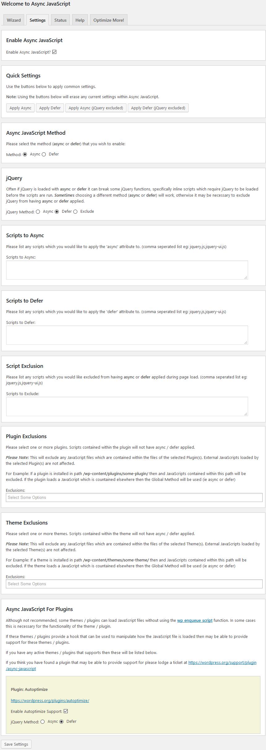 Async JS Einstellungen