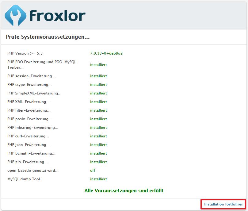 Froxlor Installation
